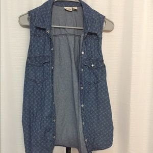 Denim button down size L